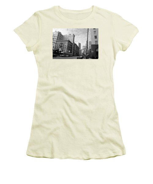 San Francisco - Jessie Street View - Black And White Women's T-Shirt (Junior Cut) by Matt Harang