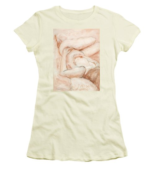 Women's T-Shirt (Junior Cut) featuring the drawing Sanguine Nude by Kerryn Madsen-Pietsch