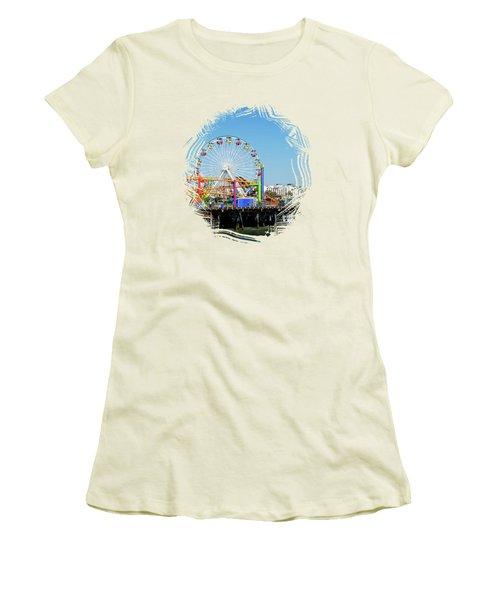 Santa Monica Ferris Wheel Women's T-Shirt (Junior Cut) by Stefanie Juliette