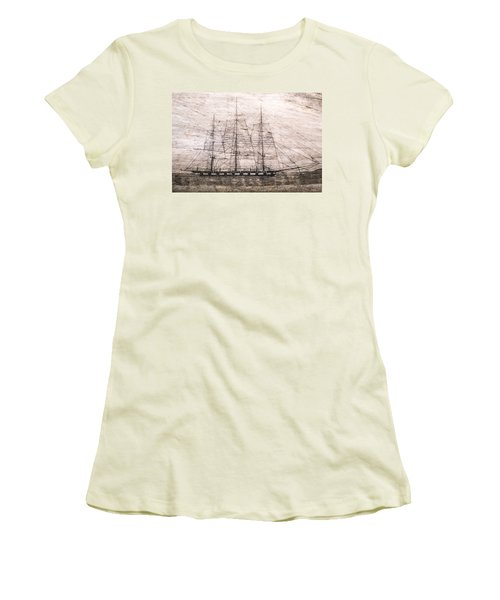 Scrimshaw Whale Panbone Women's T-Shirt (Athletic Fit)