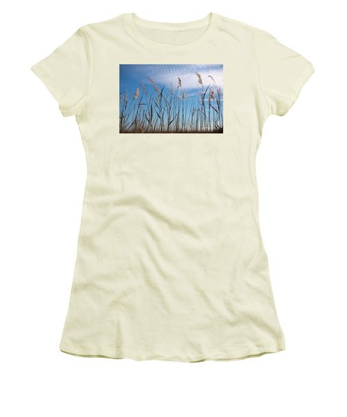 Women's T-Shirt (Junior Cut) featuring the photograph Sea Oats And Sky On Outer Banks by Dan Carmichael
