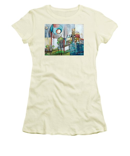 Sea Town Women's T-Shirt (Junior Cut) by Karin Husty