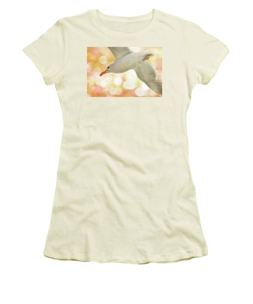 Seagull On Pink And Yellow Sky Women's T-Shirt (Athletic Fit)