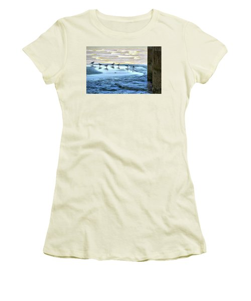 Seagulls At Waters Edge Women's T-Shirt (Athletic Fit)