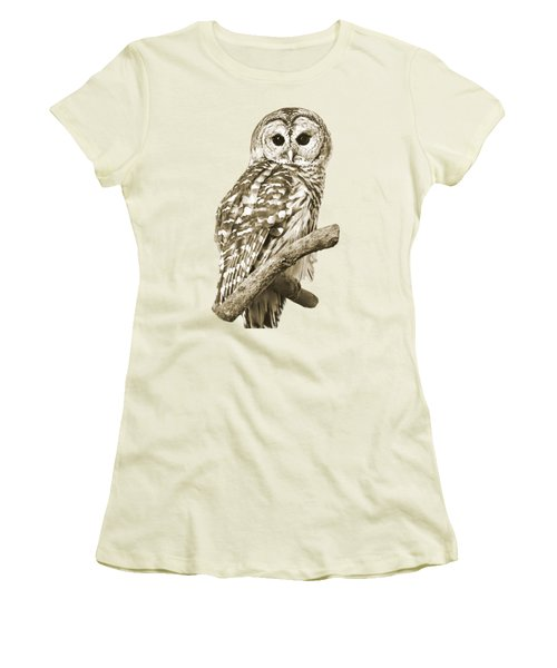Sepia Owl Women's T-Shirt (Athletic Fit)