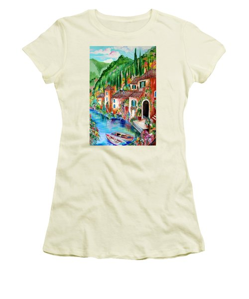 Women's T-Shirt (Junior Cut) featuring the painting Serenity By The Lake by Roberto Gagliardi