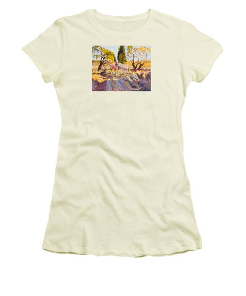 Women's T-Shirt (Junior Cut) featuring the painting Sheep And Shepherd At Sunset Oil Painting Bertram Poole by Thomas Bertram POOLE