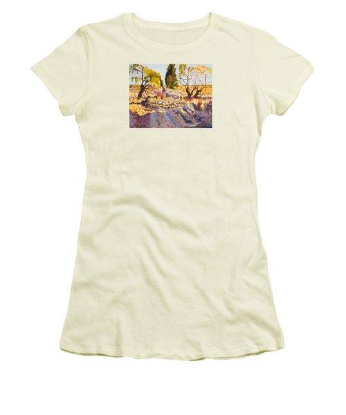 Sheep And Shepherd At Sunset Oil Painting Bertram Poole Women's T-Shirt (Junior Cut) by Thomas Bertram POOLE