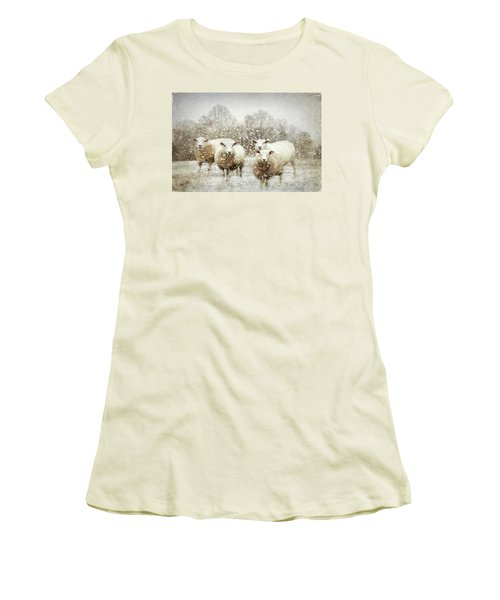 Women's T-Shirt (Athletic Fit) featuring the photograph Sheep Gathering In Snow by Bellesouth Studio