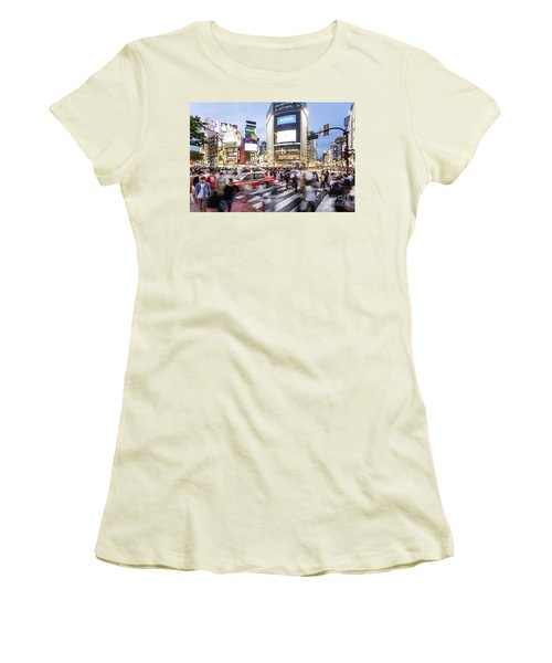 Shibuya Crossing At Night In Tokyo Women's T-Shirt (Athletic Fit)