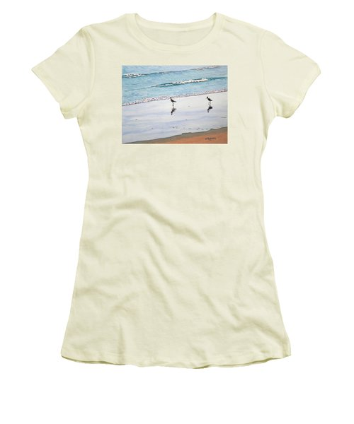 Shore Birds Women's T-Shirt (Junior Cut) by Mike Robles