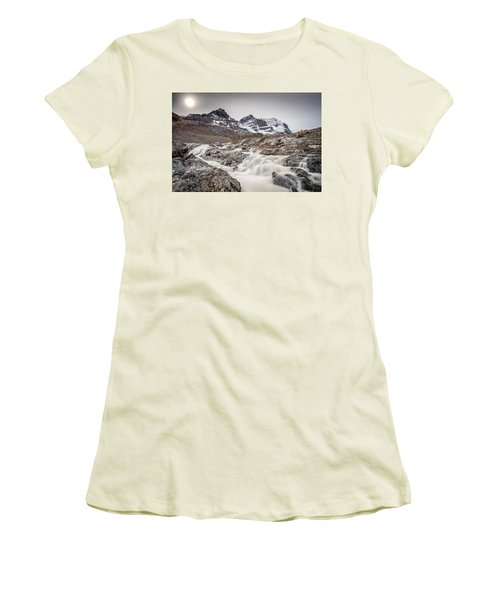 Silky Melt Water Of Athabasca Glacier Women's T-Shirt (Athletic Fit)