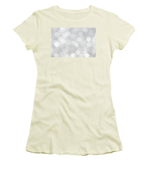 Silver Grey Bokeh Abstract Women's T-Shirt (Junior Cut) by Peggy Collins