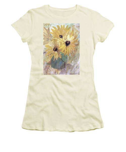 Women's T-Shirt (Athletic Fit) featuring the painting Simply Sunflowers  by Robin Maria Pedrero