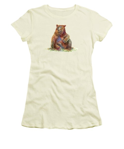 Sitting Bear Women's T-Shirt (Junior Cut) by Amy Kirkpatrick