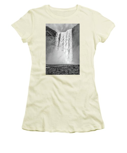 Women's T-Shirt (Athletic Fit) featuring the photograph Skogafoss Waterfall Iceland by Edward Fielding