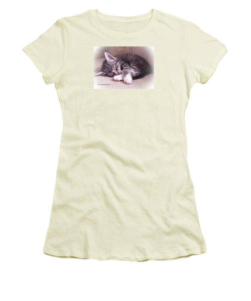 Sleepy Kitten Bymaryleeparker Women's T-Shirt (Athletic Fit)