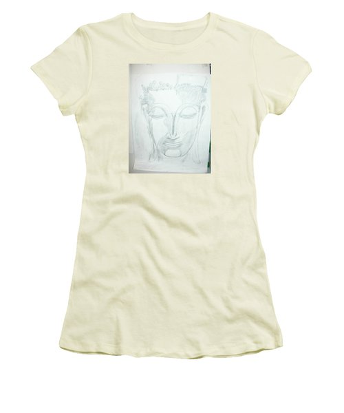 Women's T-Shirt (Junior Cut) featuring the drawing Slumbering Buddha by Sharyn Winters