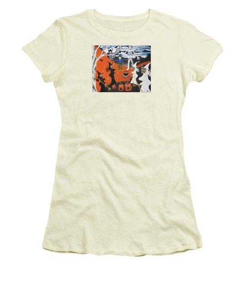 Women's T-Shirt (Junior Cut) featuring the painting Smokey Halloween by Jeffrey Koss