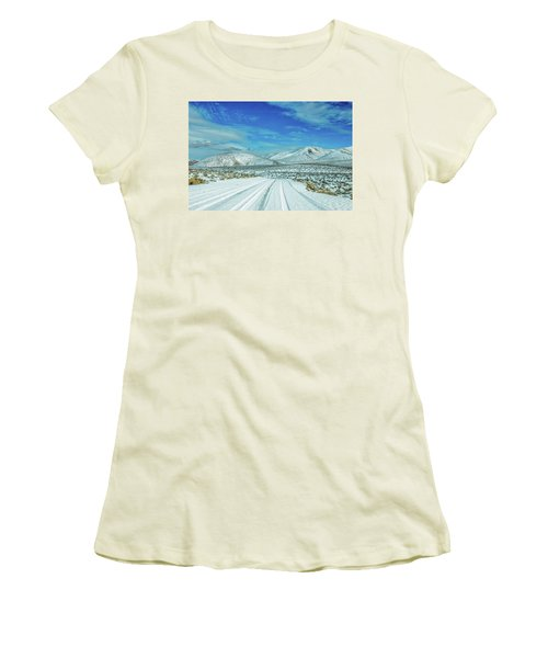 Women's T-Shirt (Junior Cut) featuring the photograph Snow In Death Valley by Peter Tellone