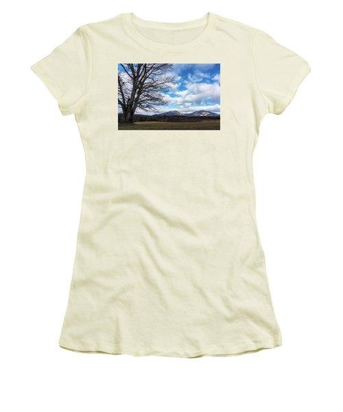 Snow In The High Mountains Women's T-Shirt (Junior Cut) by Steve Hurt