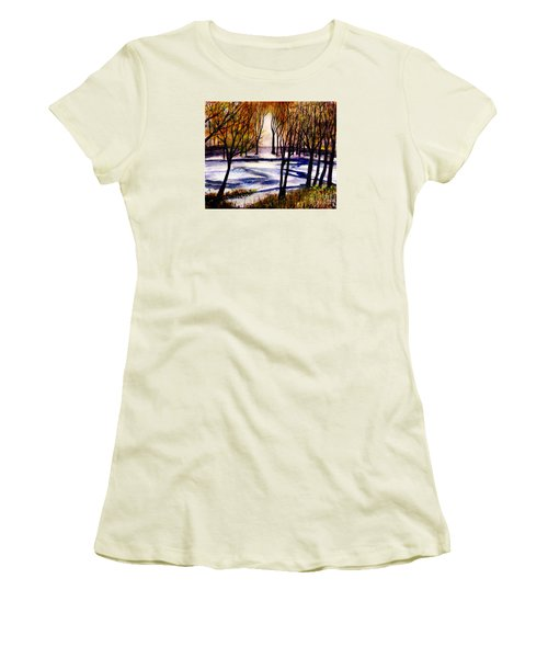 Snow On Lower Pasture Tonight Women's T-Shirt (Junior Cut) by Randy Sprout