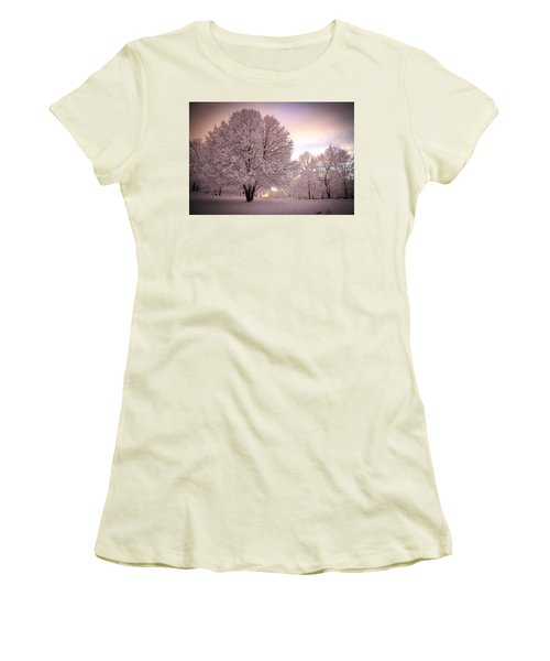Snow Tree At Dusk Women's T-Shirt (Athletic Fit)