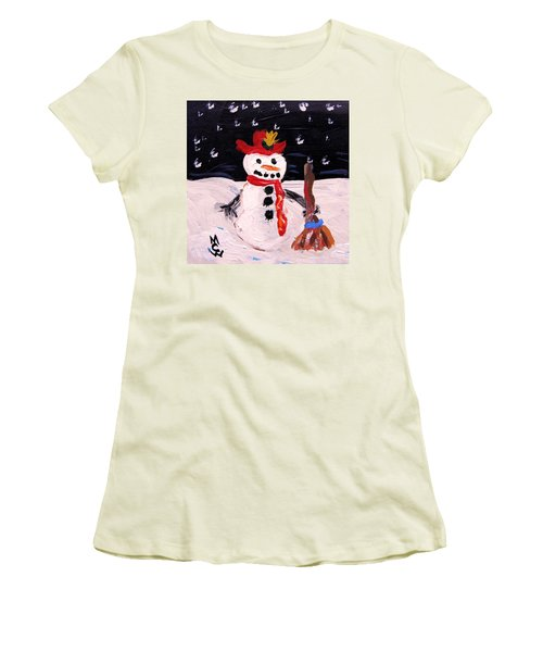 Snowman Under The Stars Women's T-Shirt (Junior Cut) by Mary Carol Williams