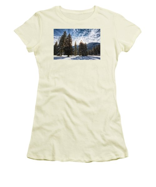 Snowy Clouds Women's T-Shirt (Junior Cut) by Charlie Duncan