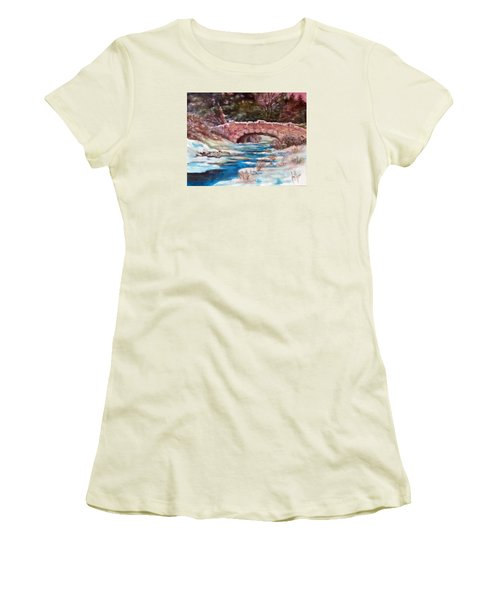 Women's T-Shirt (Junior Cut) featuring the painting Snowy Creek by Jim Phillips