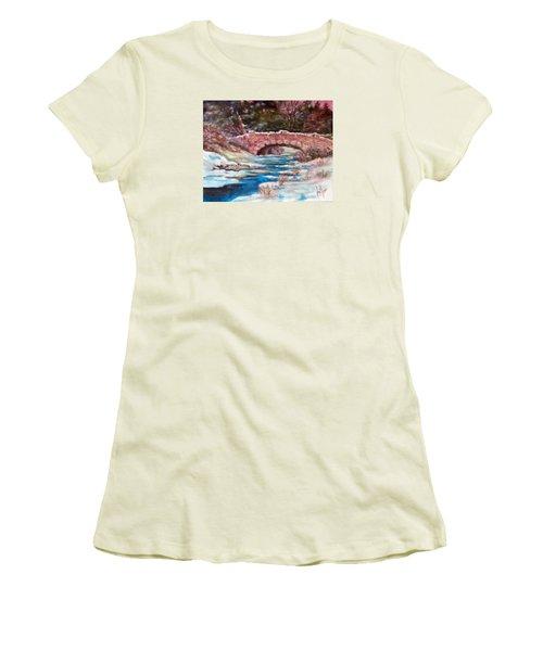 Snowy Creek Women's T-Shirt (Junior Cut) by Jim Phillips