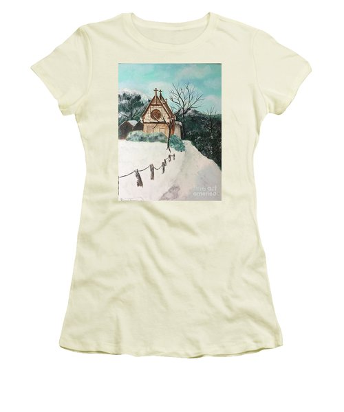 Women's T-Shirt (Athletic Fit) featuring the painting Snowy Daze by Denise Tomasura