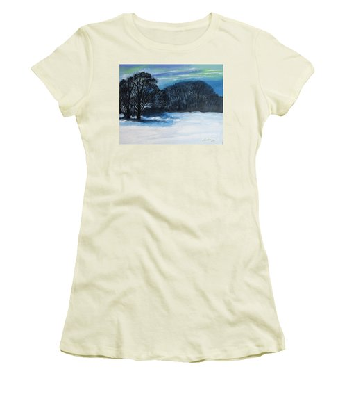 Snowy Moonlight Night Women's T-Shirt (Athletic Fit)