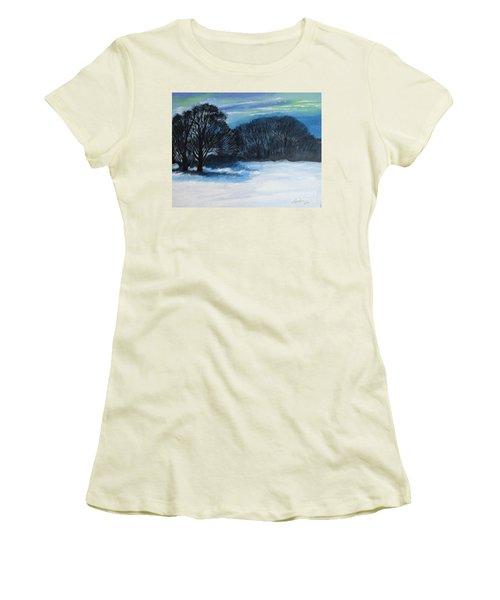 Snowy Moonlight Night Women's T-Shirt (Athletic Fit)