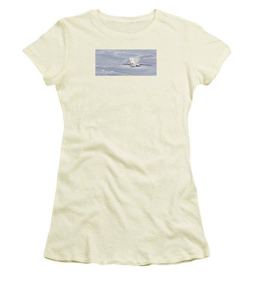 Women's T-Shirt (Junior Cut) featuring the photograph Snowy Owl by Dan Traun