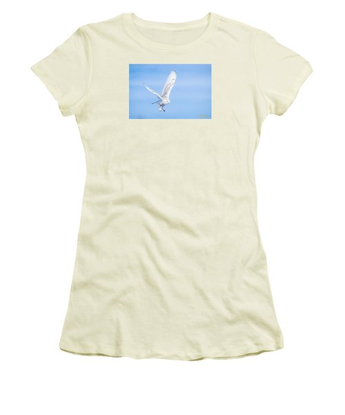 Women's T-Shirt (Junior Cut) featuring the photograph Snowy Owls Soaring by Rikk Flohr