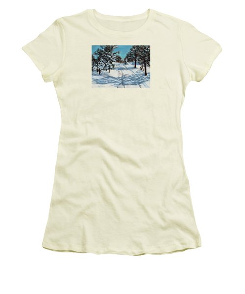 Snowy Road Home Women's T-Shirt (Athletic Fit)