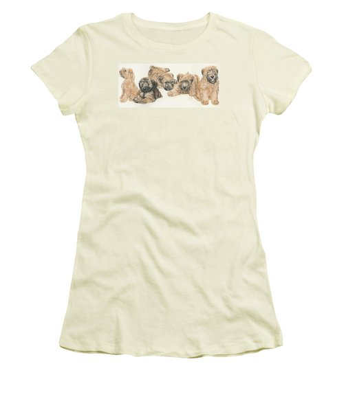 Soft-coated Wheaten Terrier Puppies Women's T-Shirt (Junior Cut) by Barbara Keith