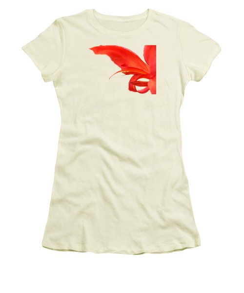 Softly Red Canna Lily Women's T-Shirt (Junior Cut) by Debbie Oppermann