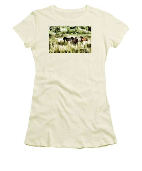 Women's T-Shirt (Junior Cut) featuring the mixed media South Dakota Herd Of Horses by Wilma Birdwell