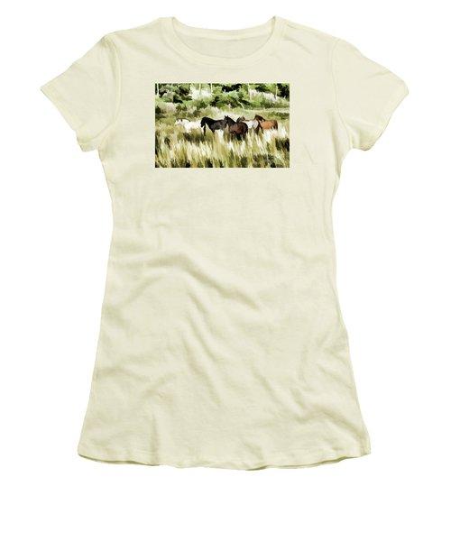 South Dakota Herd Of Horses Women's T-Shirt (Junior Cut) by Wilma Birdwell