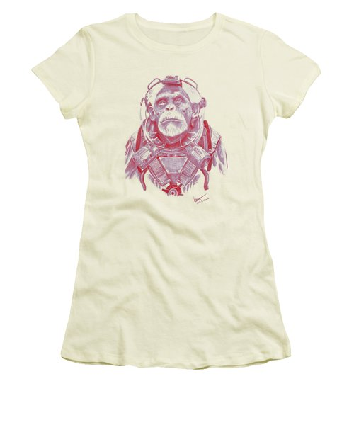 Space Chimp Women's T-Shirt (Junior Cut) by Kenny Noorlander
