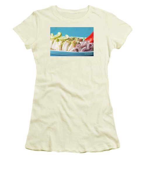 Women's T-Shirt (Junior Cut) featuring the photograph Spicy Food, Steamed Squid by Atiketta Sangasaeng