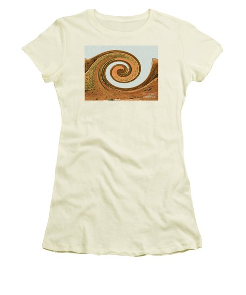 Women's T-Shirt (Athletic Fit) featuring the digital art Spiral Of Red Rock, Sand, And Sandstone  by Merton Allen