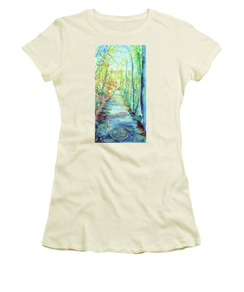 Women's T-Shirt (Junior Cut) featuring the painting Spirale - Spiral by Koro Arandia