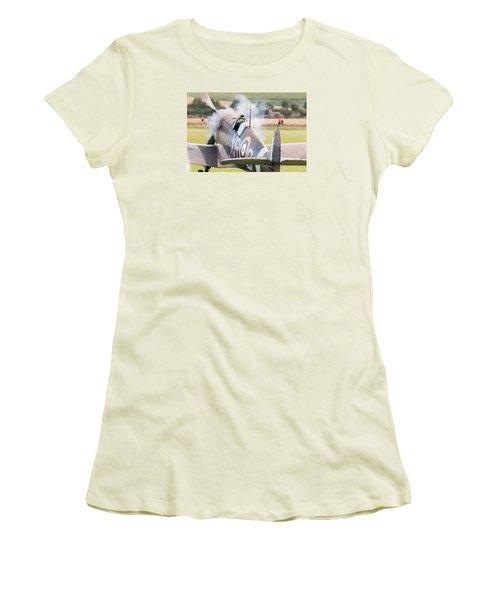 Spitfire Engine Start Smoke Rings Women's T-Shirt (Junior Cut) by Gary Eason
