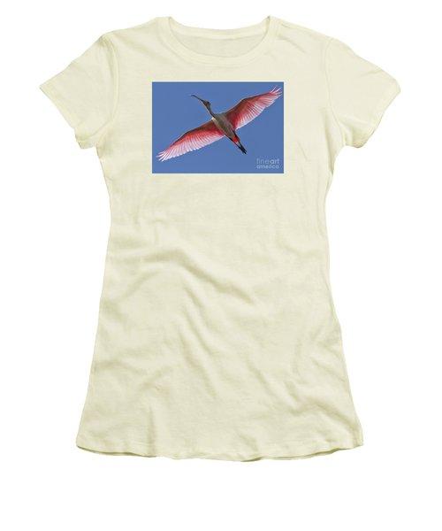 Spoonbill Soaring Women's T-Shirt (Athletic Fit)