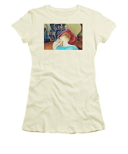 Spring Bonnet Women's T-Shirt (Junior Cut) by Kathie Chicoine
