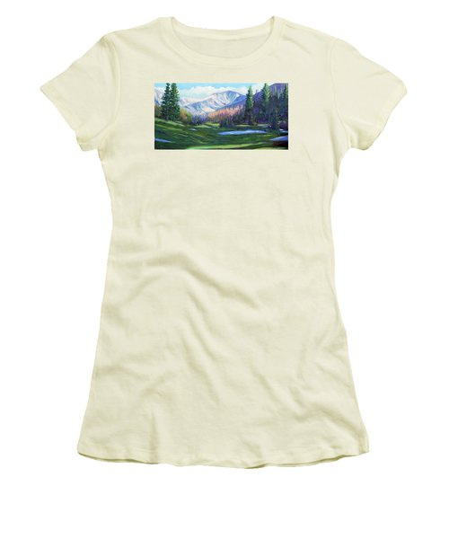 Women's T-Shirt (Junior Cut) featuring the painting Spring Colors In The Rockies by Billie Colson
