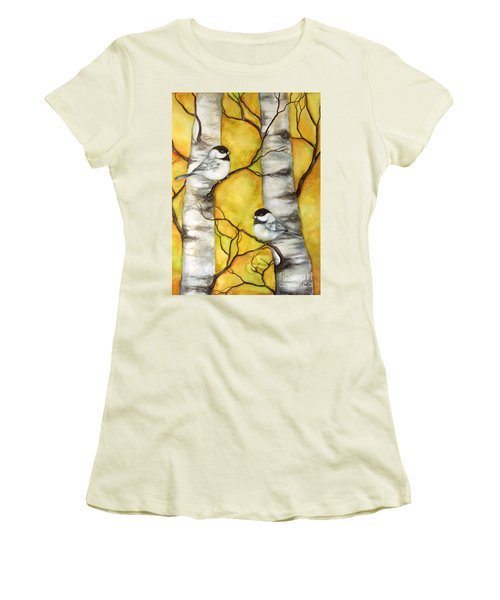 Women's T-Shirt (Junior Cut) featuring the painting Spring by Inese Poga